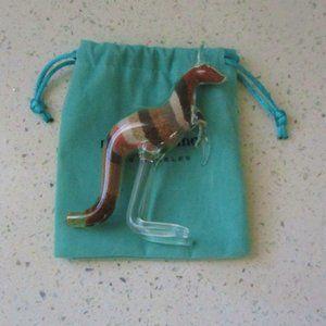 Maya Brenner Glass Kangaroo Figure w/ Velvet Pouch